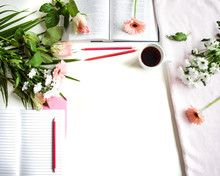 Pink Bible Flat Lay: Bouquet Of Wild Flowers On Open Bible White Table Background. Pink Rose Tone. Top View, Empty Space For Publicity Information Or Advertising Text. Mock-up. Copy Space.