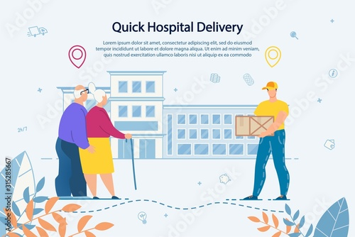 Quick Delivery Service. Transportation Goods, Products, Groceries, Drugs and Pharmaceuticals to Hospital for Elderly People. Old Senior Married Couple Receiving Parcel Package from Courier