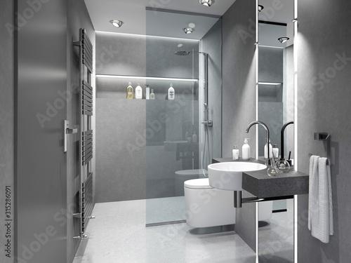 Kleines Duschbad, Badezimmer, Bad mit Dusche und WC. Canvas Print