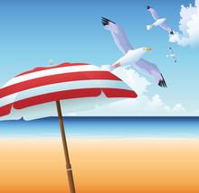 Summer Time In Beach Vacations Seagull Umbrella Ocean Sand