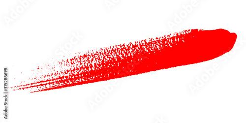 Fotografia, Obraz Brush painted grunge red stroke isolated on white background, vector illustratio