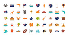Australia Animal Things Famous Sites Icons Set On White Background
