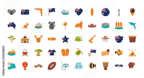 Photo australia animal things famous sites icons set on white background