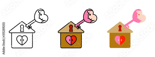 Photo home with key heart-shaped icon set isolated on white background for web design,
