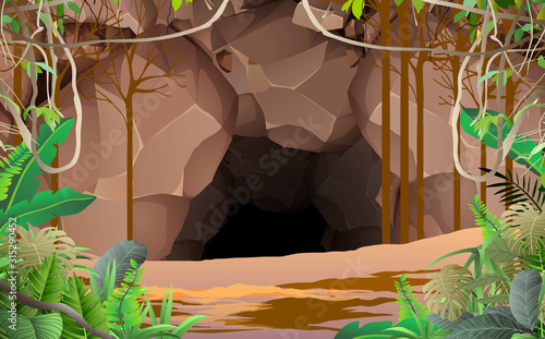 Fotografiet landscape of cave in the jungle