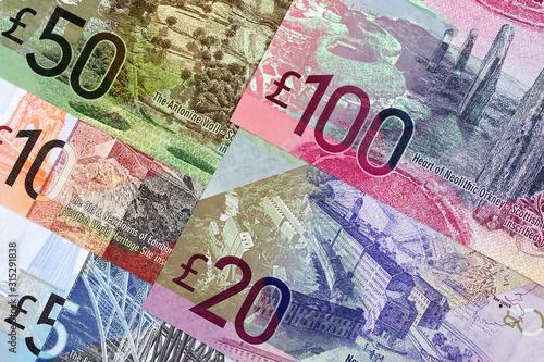 Scottish Pounds a business background Tablou Canvas