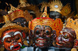 Leinwanddruck Bild - Old traditional balinese costumes and masks Tari Wayang Topeng - characters of Bali island culture. Temple ritual dance at ceremony on religious holiday. Ethnic festivals, arts of Indonesian people