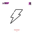 Outline thunder icon. thunder icon vector isolated on white background. Graphic design, camera-interface icons, mobile application, logo, user interface. UI / UX design. EPS 10 format vector
