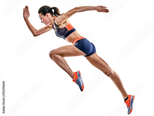 Fototapeta one young caucasian woman runner running jogger jogging athletics competition isolated on white background obraz