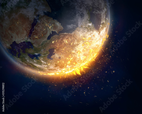 Burning Earth, global warming concept