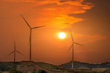 Wind Turbines Farm On Mountani...
