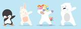 Fototapeta Fototapety na ścianę do pokoju dziecięcego - Dabbing cartoon animals dancing sign set
