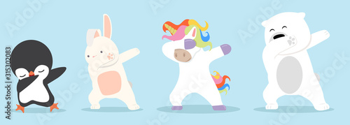 Dabbing cartoon animals dancing sign set