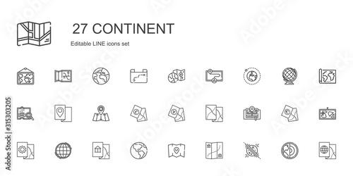 continent icons set Fototapet