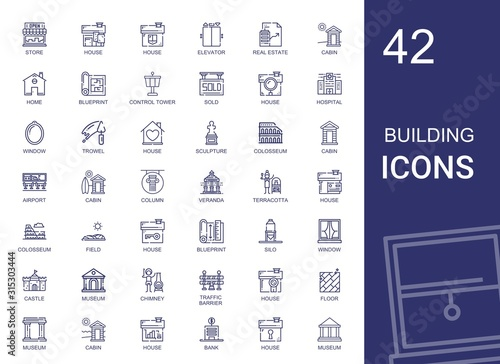 Fotomural building icons set