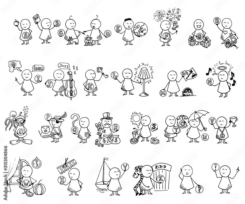 Fototapeta Funny people ABC icons. Alphabet set. Doodle vector educational illustration.