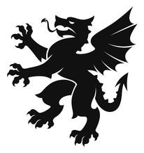 Heraldic Dragon Simple Black
