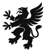 Heraldic Griffin Simple Black