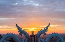 Naga Or Serpent Statue And Sun...