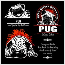 Pug - Vector Set For T-shirt, ...