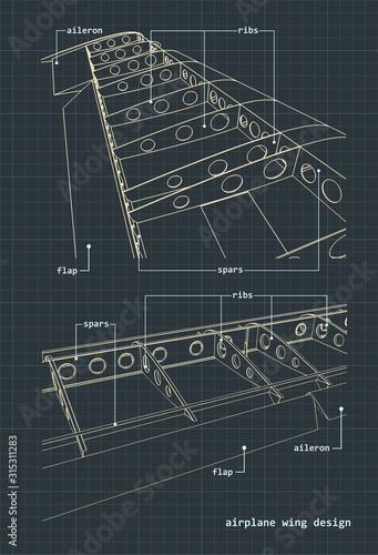 Photo Airplane wings blueprint