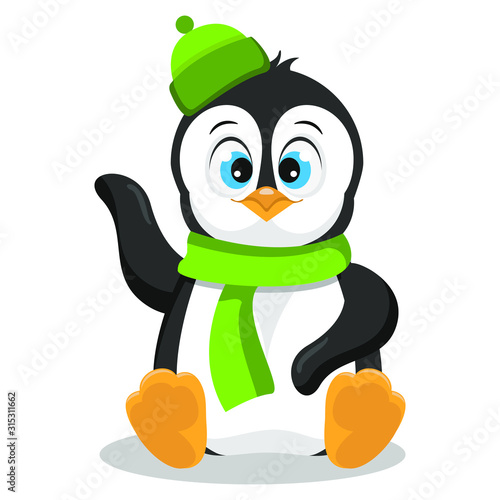 Cute happy penguin in green hat and scarf; vector illustration isolated on white.