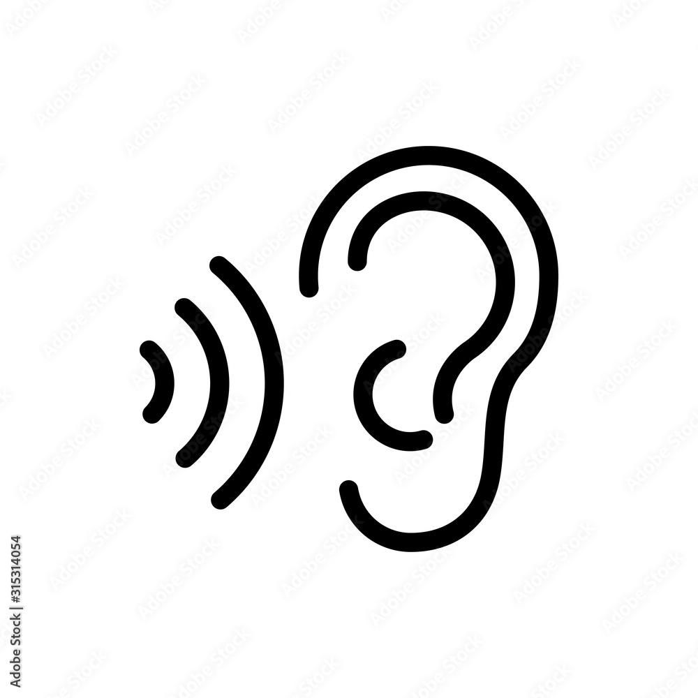 Fototapeta Icono plano lineal oreja con ondas de sonido en color negro