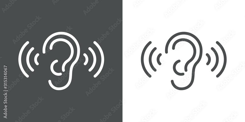 Fototapeta Icono plano lineal oreja con ondas de sonido en fondo gris y fondo blanco