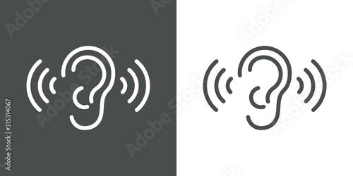 Foto Icono plano lineal oreja con ondas de sonido en fondo gris y fondo blanco
