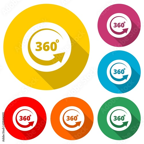Papel de parede Angle 360 degrees icon isolated with long shadow
