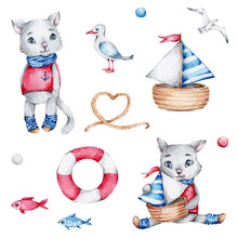 Big Sailor Set With Two Cats, Lifebuoy, Ship, Rope, Sea Gulls, Red And Blue Fishes; Watercolor Hand Draw Illustration; With White Isolated Background