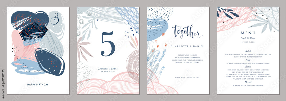Fototapeta Invitation, menu, table number card design. Floral wedding templates. Good for birthday, bridal and baby shower.