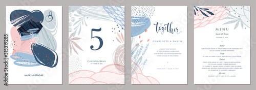 Invitation, menu, table number card design. Floral wedding templates. Good for birthday, bridal and baby shower. - 315319285