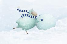 Cartoon Sheepmakes A Snowman. Positive Winter Illustration About Winter Fun Outdoor