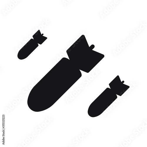 Tela Bombing icon. Vector illustration isolated on white background.