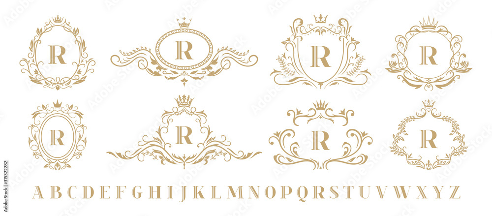 Fototapeta Luxury monogram. Vintage ornamental decorative monograms, retro luxury golden wreath emblem and baroque heraldic wedding frame. Luxurious whiskey or boutique emblem isolated vector icons set