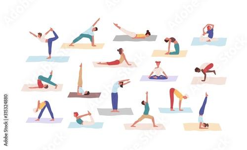 Fotomural People practicing yoga position set vector flat illustration