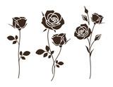 Zestaw ozdobnych róż z liśćmi. Sylwetka kwiatu. Ilustracji wektorowych