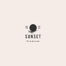 Sunset Logo Vector Icon Sea Gulf Coast Illustration Hipster Vintage Retro