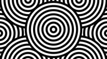 Trendy Circular Black And White Pattern Background Vector Design. Optical Illusion Spins Backdrop.