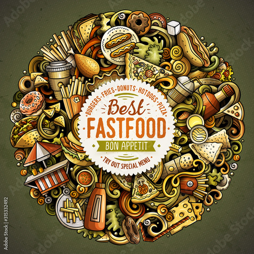 Fototapeta Fastfood hand drawn vector doodles round illustration. Fast food poster design obraz