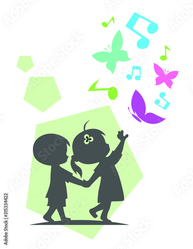Fototapety, obrazy: 2 silhouette kids playing together with butterfly and imagination
