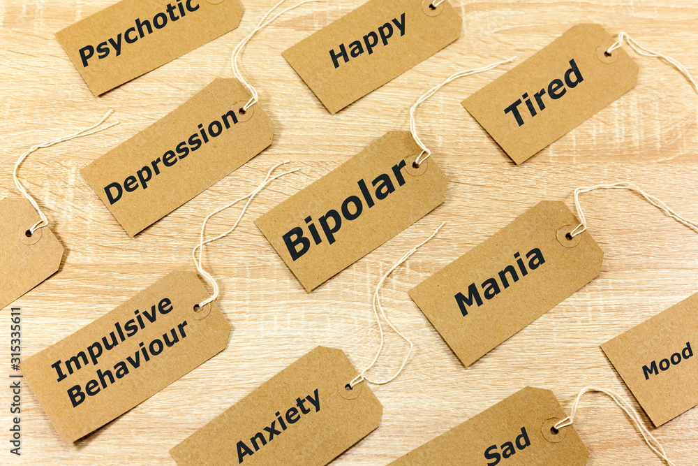 Fototapeta Mental Health Concept highlighting Bipolar disorder and associated symptoms