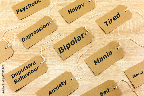 Obraz Mental Health Concept highlighting Bipolar disorder and associated symptoms - fototapety do salonu