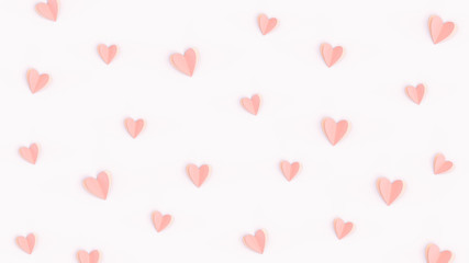 Pink cute hearts made of paper isolated on bright pink background, flat lay composition. Romantic paper-cut heart pattern, Valentines day concept, minimalist backdrop. Love wallpaper, pastel colors.