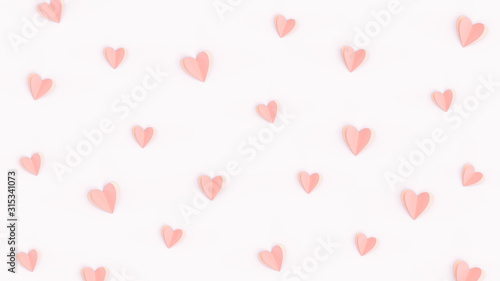 Obraz Pink cute hearts made of paper isolated on bright pink background, flat lay composition. Romantic paper-cut heart pattern, Valentines day concept, minimalist backdrop. Love wallpaper, pastel colors. - fototapety do salonu