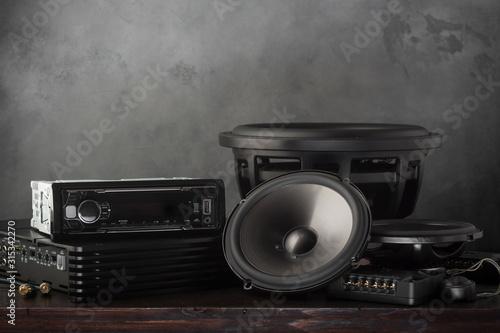 car audio, car speakers, subwoofer and accessories for tuning. Tapéta, Fotótapéta