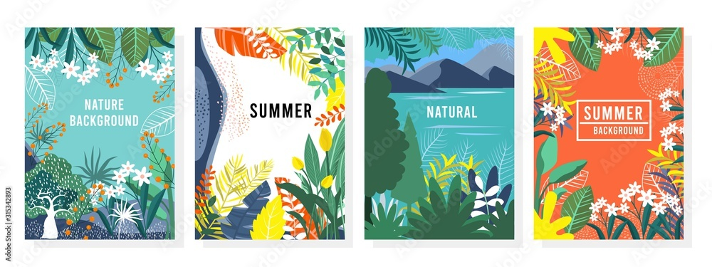 Fototapeta Vector set nature background, nature cards, banner, cover, templates, posters.