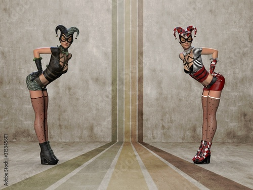 Photo The girls in the jester's costume. 3d illustration (1)