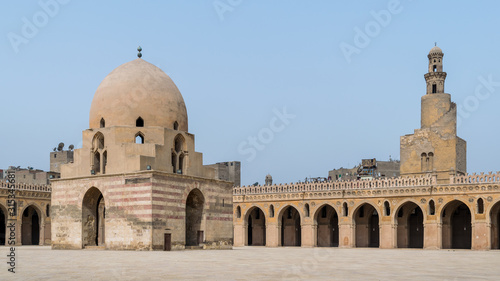 Fotografija Courtyard of Ibn Tulun public historical mosque with ablution fountain and the m